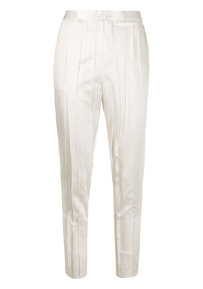 Saint Laurent crinkle-effect tailored trousers - White