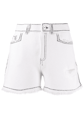 Barrie contrast stitch shorts - White