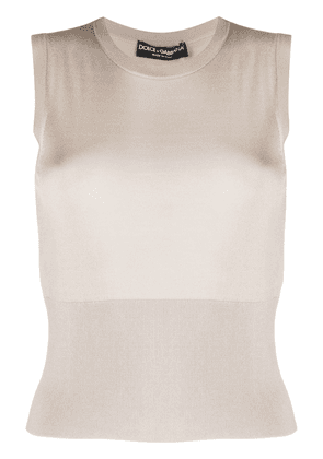 Dolce & Gabbana ribbed knitted vest - NEUTRALS