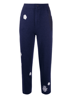 Barrie floral pattern knitted trousers - Blue