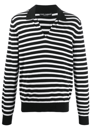 Dolce & Gabbana striped long-sleeved polo shirt - Black