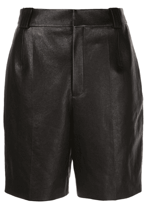 Saint Laurent pleated detail bermuda shorts - Black