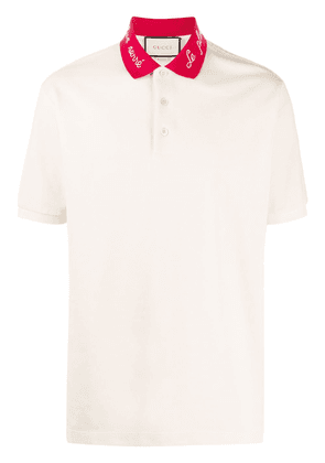 Gucci embroidered collar polo shirt - NEUTRALS