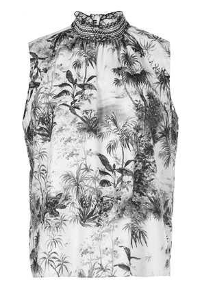Adam Lippes smocked neck printed top - White