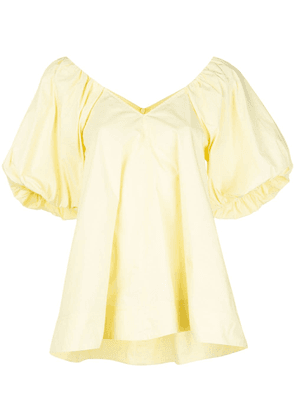 Co puff-sleeves V-neck top - Yellow