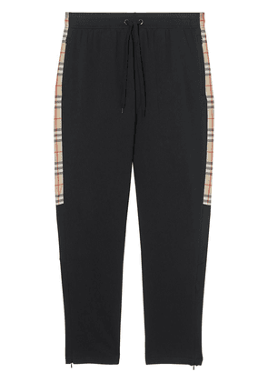 Burberry Vintage Check Trim Technical Twill Trackpants - Black