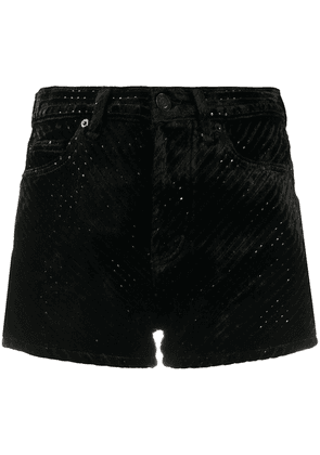Saint Laurent sequined dévoré velvet shorts - Black