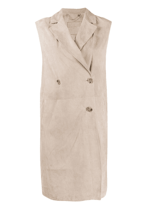 Desa 1972 double-breasted sleeveless coat - NEUTRALS