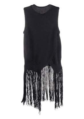 Cédric Charlier asymmetric fringed top - Blue