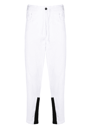 Ann Demeulemeester tapered contrast cuff trousers - White