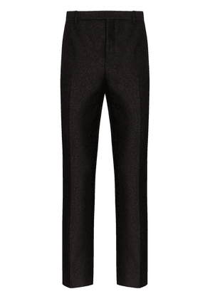 Saint Laurent floral-jacquard straight-leg trousers - Black