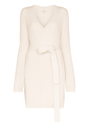 Loewe belted ribbed knit jumper - White