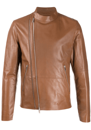 Desa 1972 fitted leather jacket - Brown