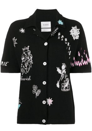Barrie Symbols embroidered knit shirt - Black