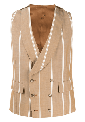 Gabriele Pasini striped double-breasted waistcoat - Brown