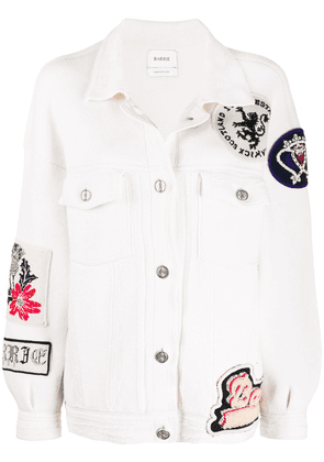 Barrie oversized patchwork detailed knitted jacket - White