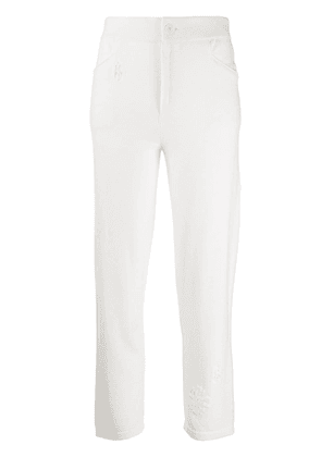 Barrie floral-embroidered knit trousers - White
