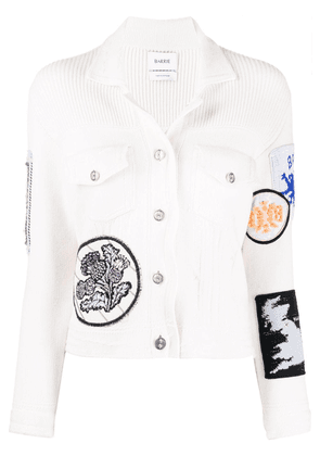 Barrie patchwork detailed knitted jacket - White