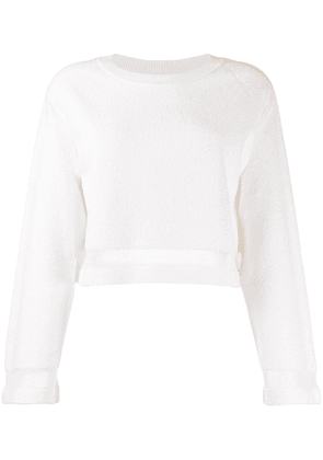 Barrie terrycloth cropped pullover - White