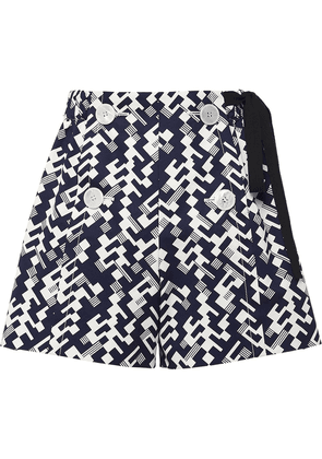 Prada side-tie geometric shorts - Blue