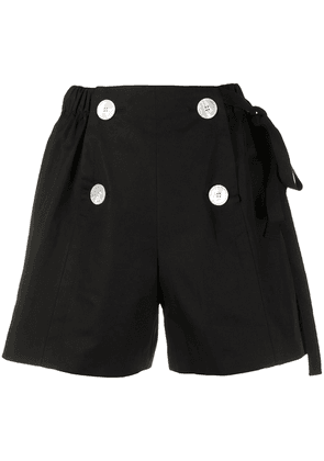 Prada button detail cotton shorts - Black