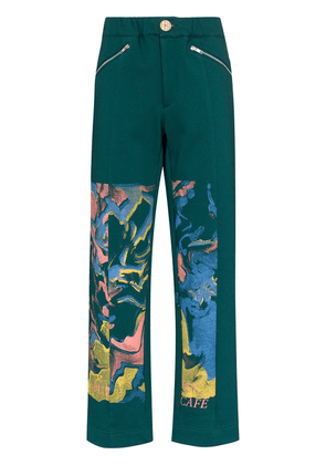 Bethany Williams Butterfly Café organic cotton sweatpants - Green