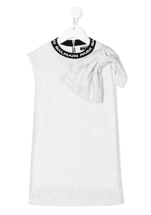 Balmain Kids oversized bow dress - SILVER