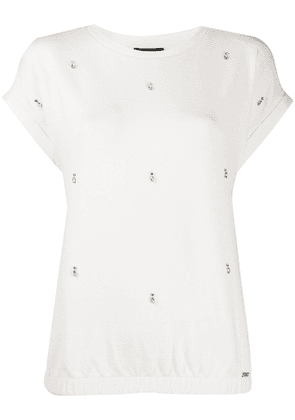 Fay crew neck embellished knitted top - White