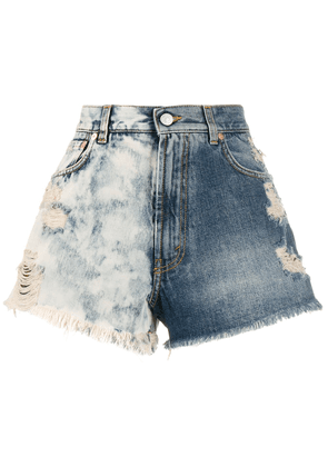 Givenchy two-tone distressed denim shorts - Blue