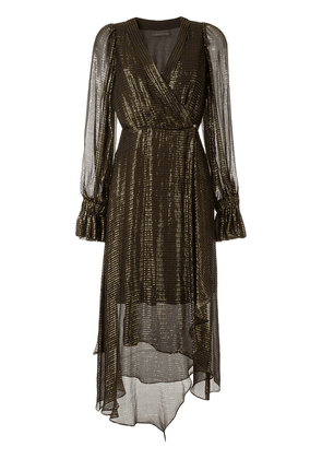 Ginger & Smart Bourgeois metallized wrap dress - GOLD