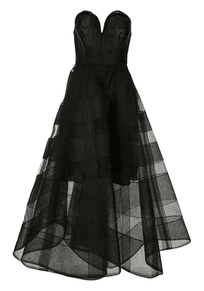 Christian Siriano belted checked mesh dress - Black