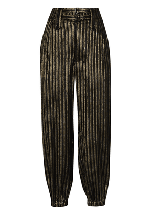 Saint Laurent lamé-stripe tapered trousers - Black