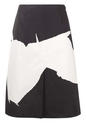 Maison Margiela abstract-print A-line skirt - NEUTRALS