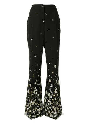 Erdem floral print flared trousers - Black