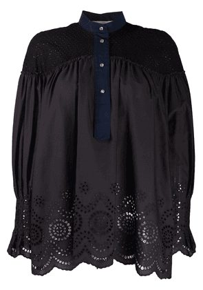 Cédric Charlier cut-out panelled blouse - Black
