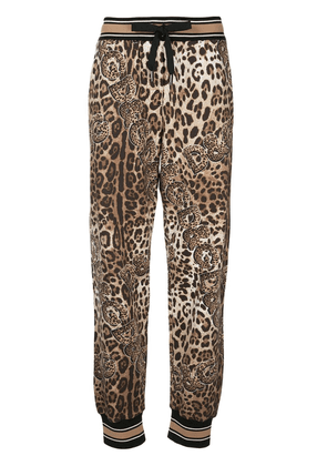 Dolce & Gabbana leopard print track pants - Brown