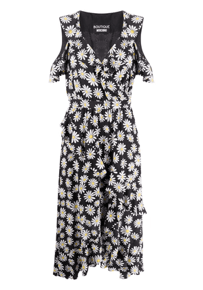 Boutique Moschino floral-print ruffled dress - Black