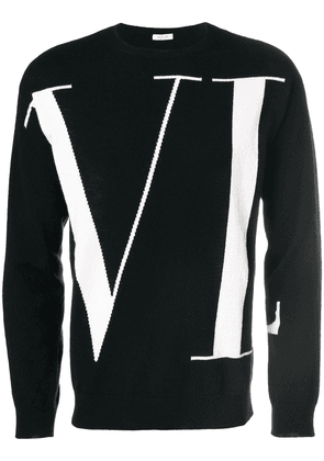 Valentino logo patterned sweater - Black