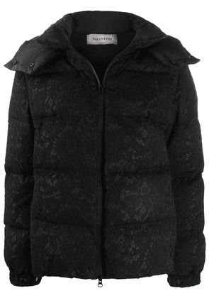 Valentino floral lace zipped puffer jacket - Black