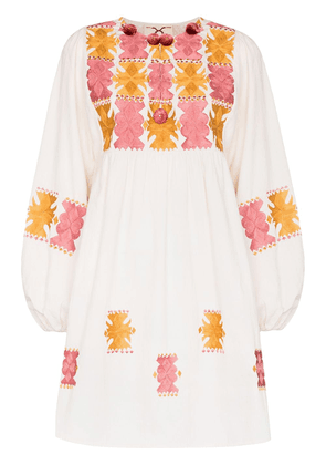 Figue Lucie embroidered mini dress - White
