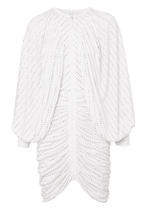 Burberry crystal-embellished pinstriped ruched dress - White
