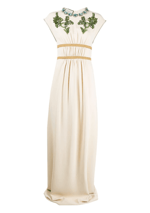 Gucci crystal embroidered jersey gown - NEUTRALS