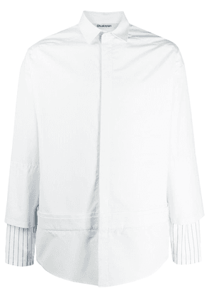 Chalayan striped sleeve double-layer shirt - Blue