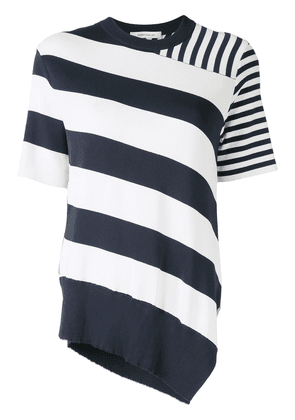 Cédric Charlier multi-striped asymmetric knitted top - White