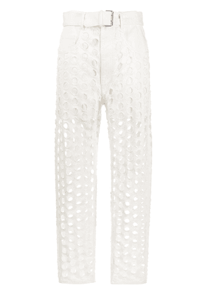 Maison Margiela high-waisted hole-detail jeans - White