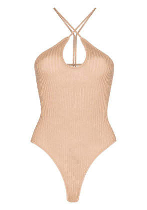 Dodo Bar Or cut-out ribbed bodysuit - NEUTRALS