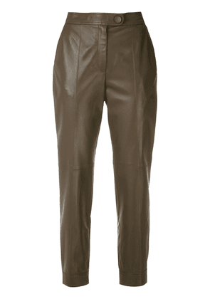 Egrey leather cropped trousers - Brown