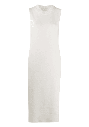 Co knitted side slit tunic - White