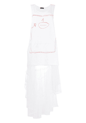 Barbara Bologna jersey and tulle dress - White