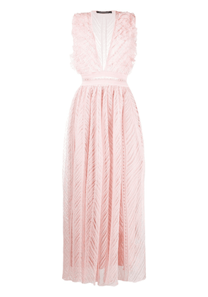 Antonino Valenti deep-v flared dress - PINK